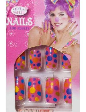 Rainbow Polka Dot Costume Nails