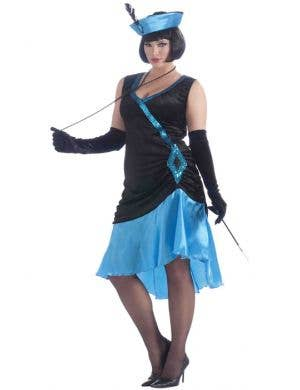 Women's 1920's Black and Blue Plus Size Flapper Costume Front