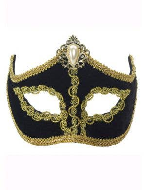 Velveteen Masquerade Mask On Glasses - Black