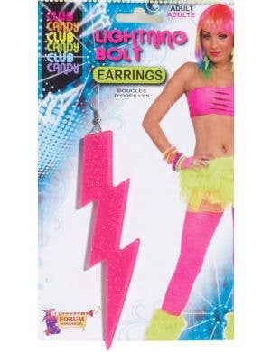1980's Hot Pink Lightning Bolt Costume Earrings