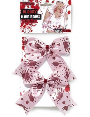 Bloody Hair Bows Zombie Accessory