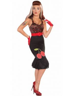 Women's Retro 1950's Black Cherry Wiggle Dress Costume Front