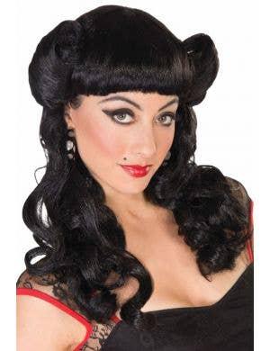 Sadie Women's Black Rockabilly Pin-Up Costume Wig