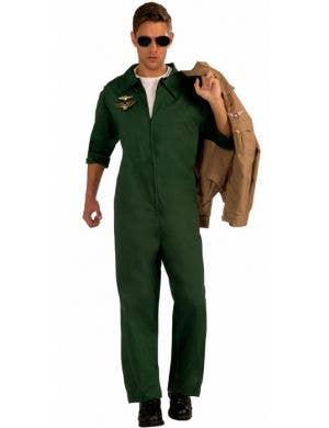 Men's Green Top Gun Flight Suit Costume Jumpsuit Front