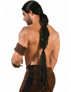 Long Black Men's Medieval Warrior Wig