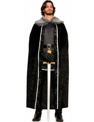 Men's Jon Snow Game Of Thrones Long Black Costume Cape Front