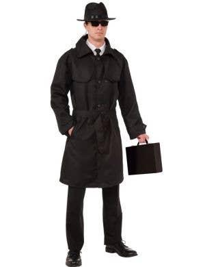 Men's Secret Agent Trench Coat Spy Costume Front