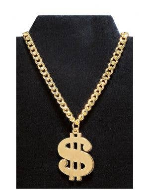 Small Dollar Sign Gold Costume Necklace