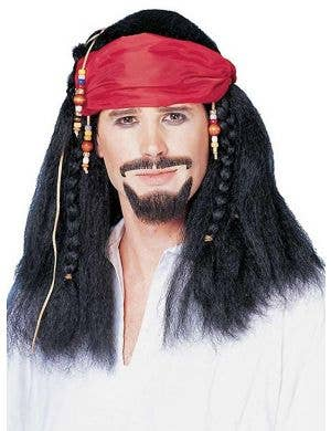 Buccaneer Men's Black Pirate Wig with Bandanna