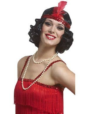 1920's Curly Black Flapper Wig With Red Headband