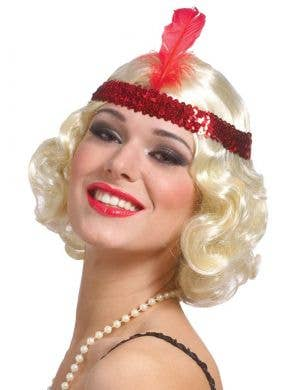 1920's Curly Blonde Flapper Wig With Red Headband