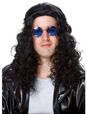 80's DJ Men's Long Curly Black Costume Wig