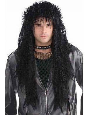 1980's Crimped Black Men's Costume Wig Front View