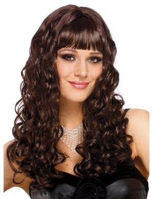 Long Curly Brown Women's Costume Wig with Fringe
