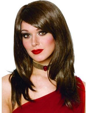 Sharon Mid-Length Women's Brown Wig With Side Fringe
