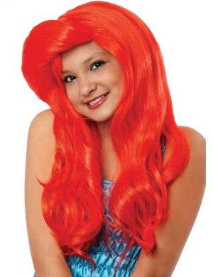 Wavy Red Mermaid Girls Costume Wig