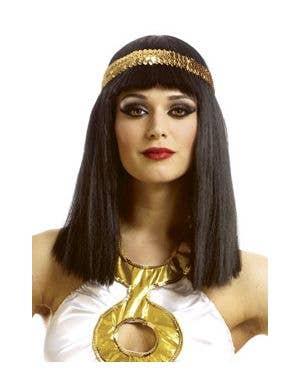 Queen Cleopatra Women's Black Costume Wig with Headband