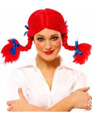 Women's Pippi Longstocking Red Plaited Costume Wig