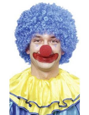 Bright Blue Adult's Clown Afro Wig