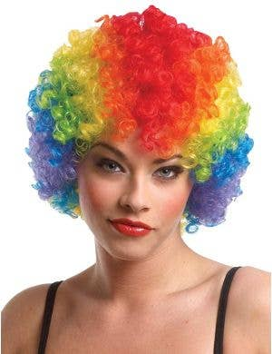 Classic Women's Rainbow Afro Clown Costume Wig