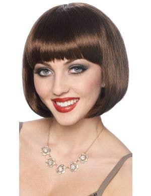 Classic Women's Short Brown Bob Costume Wig