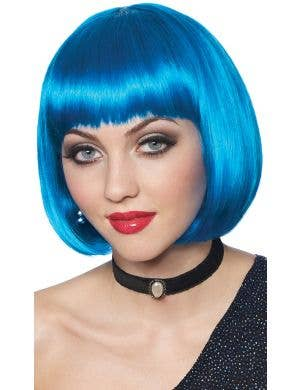 Classic Women's Blue Short Bob Costume Wig