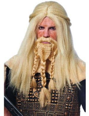 Blonde Viking Beard and Wig Set Front View