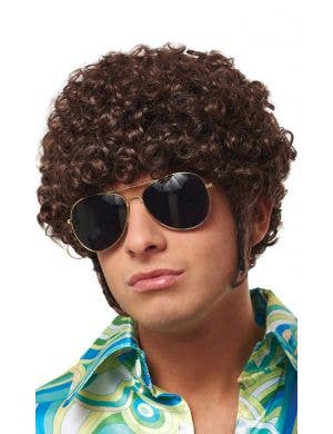 That 70's Guy Men's Curly Brown Costume Wig