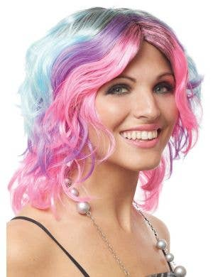 Pastel Rainbow Short Curly Women's Costume Wig