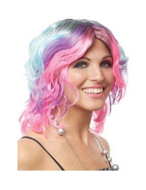 Pastel Rainbow Short Curly Women's Costume Wig