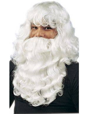 Deluxe White Santa Claus Costume Wig and Beard