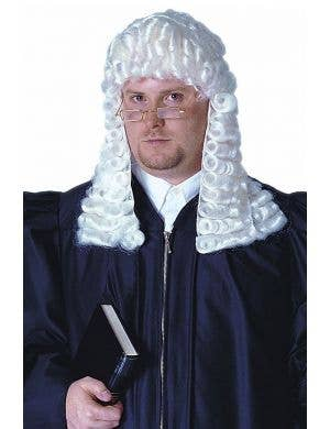 White Judge Wig Costume Accessory