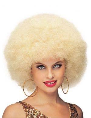 Deluxe Blonde Jumbo 1970's Women's Afro Costume Wig