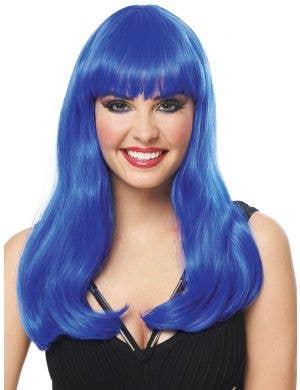 Mistress Deluxe Women's Long Blue Costume Wig