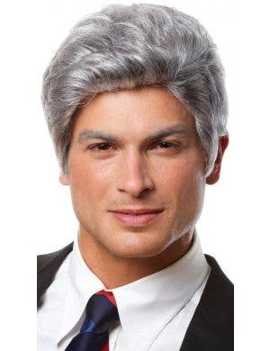 Mr President Men's Short Silver Grey Costume Wig