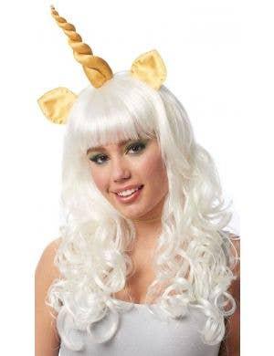 Mystic Unicorn Women's Long White Costume Wig