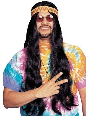 Hippie Men's Long Black Costume Wig with Headband