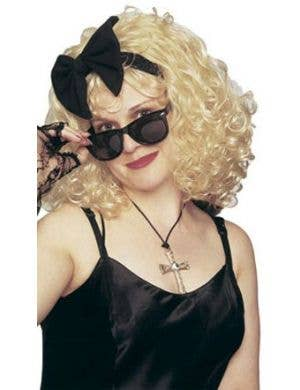 1980's Pop Star Women's Curly Blonde Wig With Bow