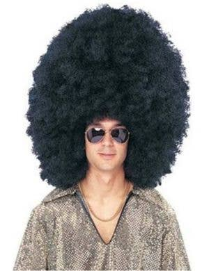 Super Jumbo Men's Black Afro Wig