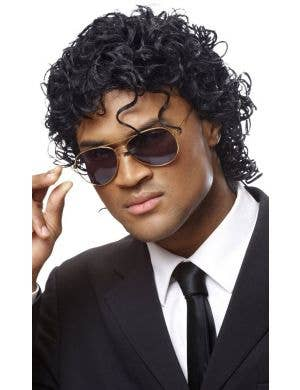80's King Of Pop Men's Curled Black Costume Wig