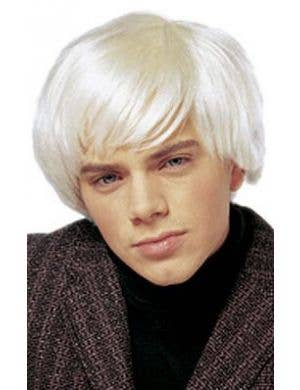 1960's Pop Star Men's Short Platinum Blonde Costume Wig