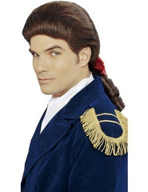 Patriot Men's Curly Brown Colonial Costume Wig