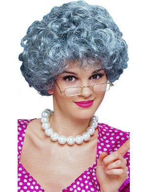 Curly Grey Old Lady Women's Costume Wig