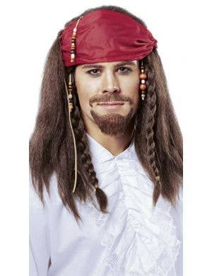 Buccaneer Men's Brown Pirate Wig with Bandanna