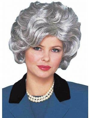 Women's Old Lady Silver Costume Wig Front View