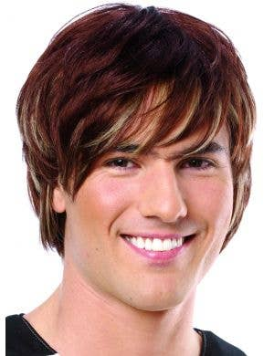 Heartthrob Men's Short Brown Wig with Blonde Highlights