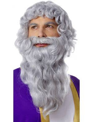Biblical Curly Grey Men's Wig and Beard Set