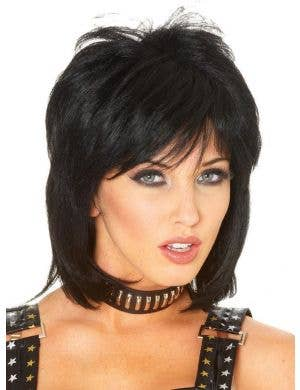 1980's Punk Rocker Women's Black Costume Wig