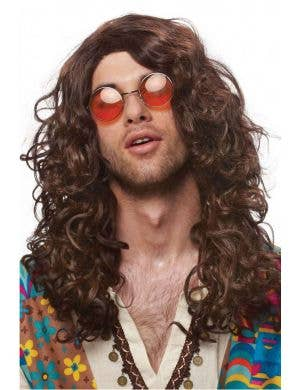 Long Curly Brown 1970's Hippie Wig For Men
