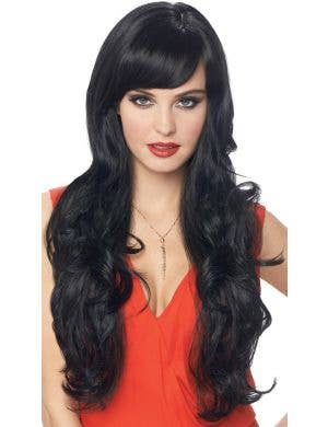 Delovely Women's Deluxe Long Curly Black Costume Wig